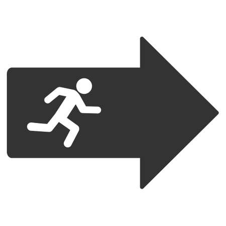 going away: Exit Arrow icon. Vector style is flat iconic symbol with rounded angles, gray color, white background. Illustration