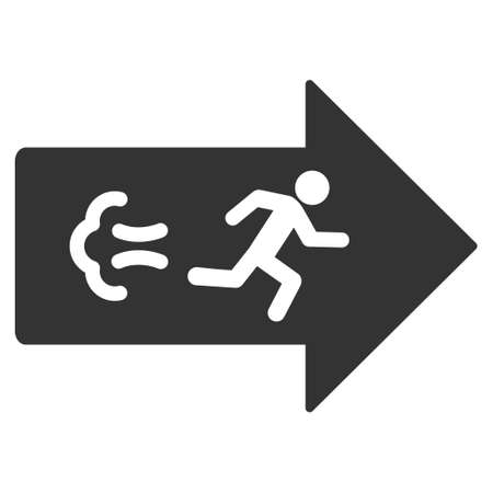 escape route: Exit Direction icon. Vector style is flat iconic symbol with rounded angles, gray color, white background. Illustration