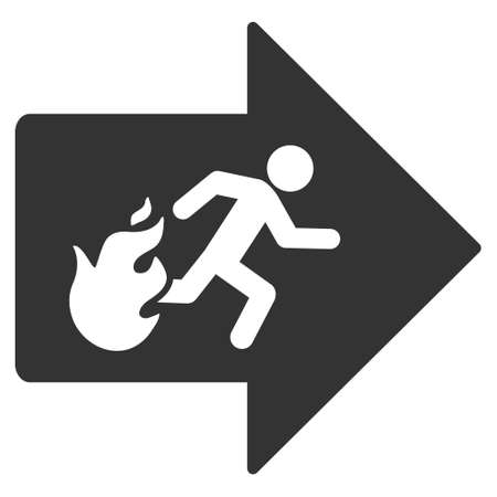 fire exit: Fire Exit icon. Vector style is flat iconic symbol with rounded angles, gray color, white background.