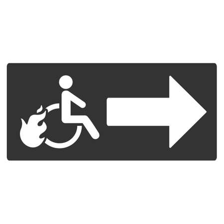 escape route: Patient Exit icon. Vector style is flat iconic symbol with rounded angles, gray color, white background.