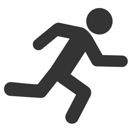 going away: Running Man icon. Vector style is flat iconic symbol with rounded angles, gray color, white background.