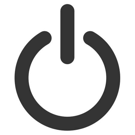 shutdown: Turn Off icon. Vector style is flat iconic symbol with rounded angles, gray color, white background.