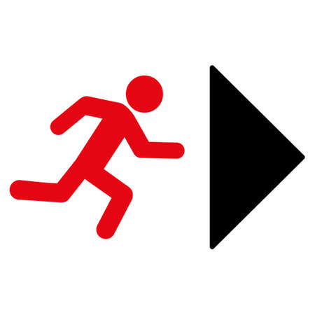 Exit Direction icon. Glyph style is bicolor flat iconic symbol with rounded angles, intensive red and black colors, white background. Stock Photo