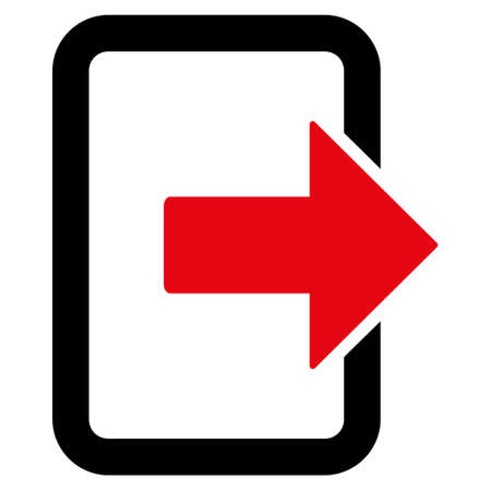 evacuate: Exit Door icon. Glyph style is bicolor flat iconic symbol with rounded angles, intensive red and black colors, white background. Stock Photo