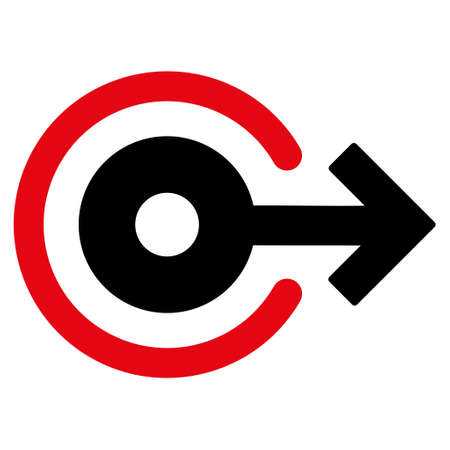 log out: Log Out icon. Glyph style is bicolor flat iconic symbol with rounded angles, intensive red and black colors, white background.