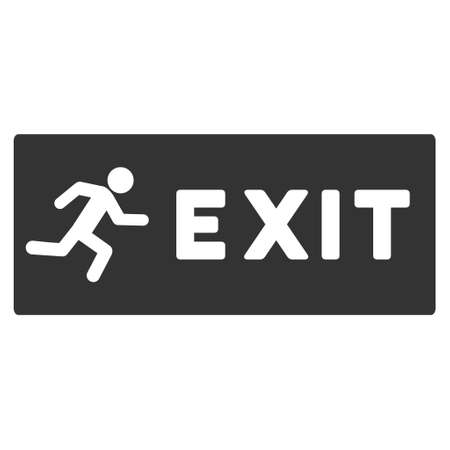 evacuate: Emergency Exit icon. Glyph style is flat iconic symbol with rounded angles, gray color, white background. Stock Photo