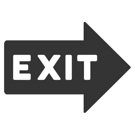 evacuate: Exit Arrow icon. Glyph style is flat iconic symbol with rounded angles, gray color, white background. Stock Photo