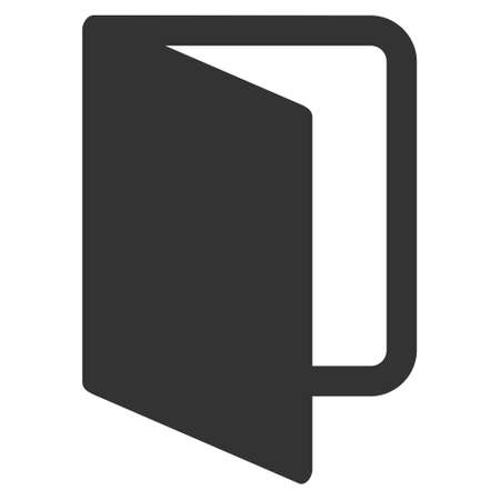 log out: Open Door icon. Glyph style is flat iconic symbol with rounded angles, gray color, white background.