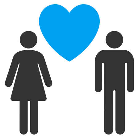 Love Persons icon. Vector style is bicolor flat iconic symbol with rounded angles, blue and gray colors, white background.