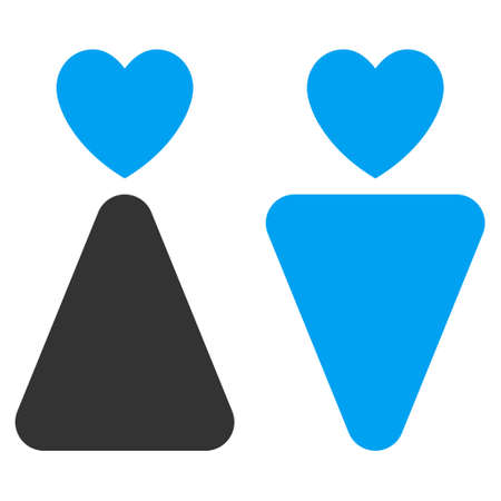 Lovers icon. Vector style is bicolor flat iconic symbol with rounded angles, blue and gray colors, white background.