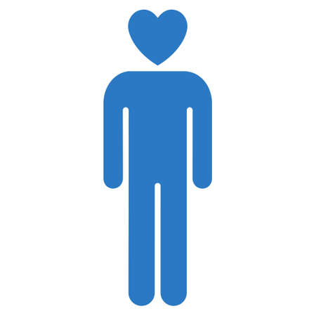 sexy young couple: Lover Man icon. Vector style is flat iconic symbol with rounded angles, smooth blue color, white background.