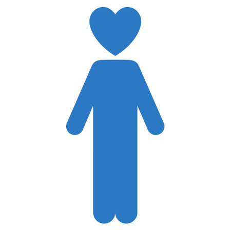Lover Man icon. Vector style is flat iconic symbol with rounded angles, smooth blue color, white background.