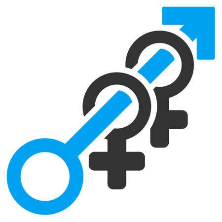 Harem icon. Vector style is bicolor flat iconic symbol with rounded angles, blue and gray colors, white background. Illustration