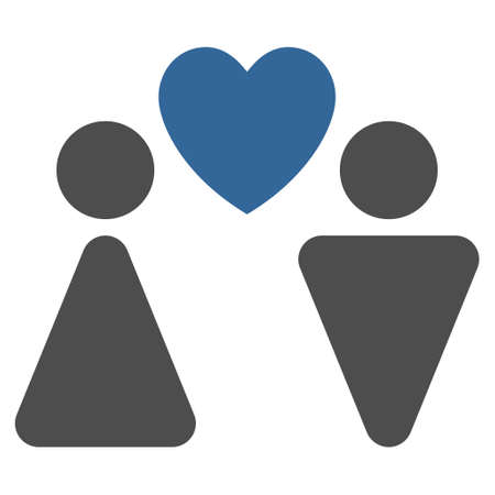 cobalt: Love Couple icon. Glyph style is bicolor flat iconic symbol with rounded angles, cobalt and gray colors, white background.