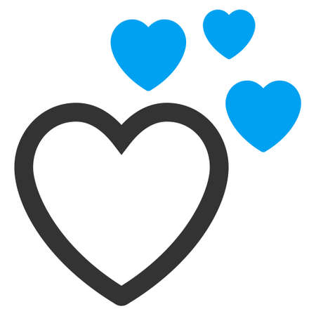 Love Hearts icon. Vector style is bicolor flat iconic symbol with rounded angles, blue and gray colors, white background.