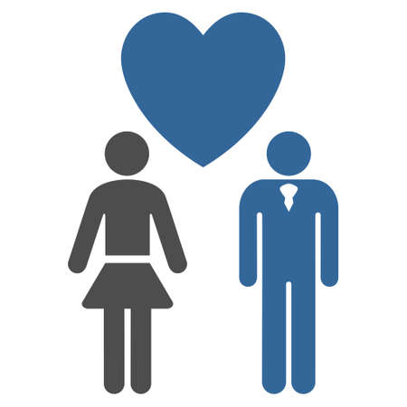 cobalt: Love Persons icon. Glyph style is bicolor flat iconic symbol with rounded angles, cobalt and gray colors, white background. Stock Photo