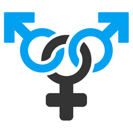 Polyandry icon. Vector style is bicolor flat iconic symbol with rounded angles, blue and gray colors, white background.