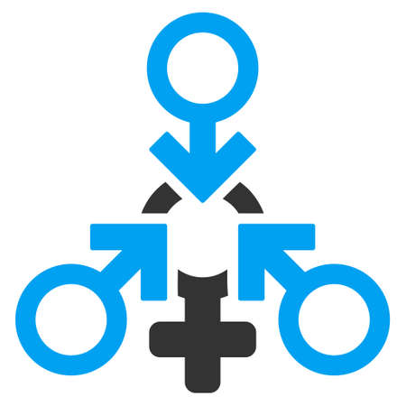 Triple Penetration Sex icon. Vector style is bicolor flat iconic symbol with rounded angles, blue and gray colors, white background.