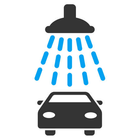 antiseptic: Car Shower icon. Vector style is bicolor flat iconic symbol with rounded angles, blue and gray colors, white background.