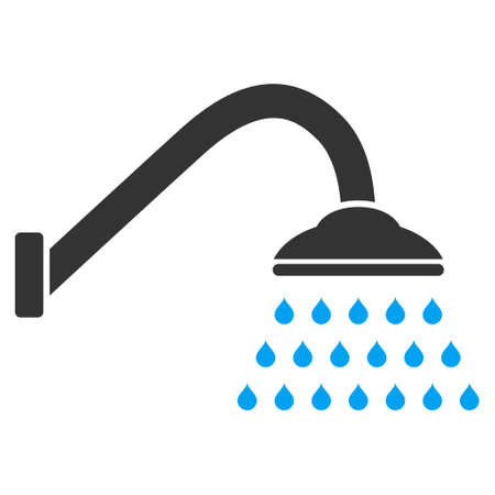 sterilize: Shower icon. Vector style is bicolor flat iconic symbol with rounded angles, blue and gray colors, white background. Illustration
