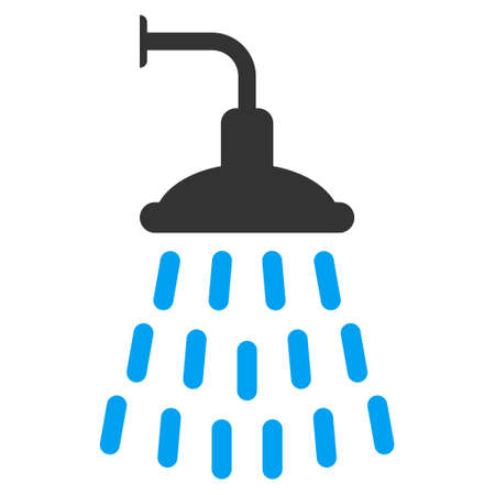 antiseptic: Shower icon. Vector style is bicolor flat iconic symbol with rounded angles, blue and gray colors, white background. Illustration