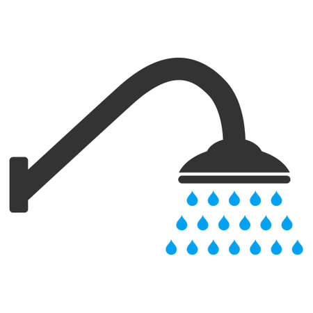 disinfectant: Shower icon. Vector style is bicolor flat iconic symbol with rounded angles, blue and gray colors, white background. Illustration