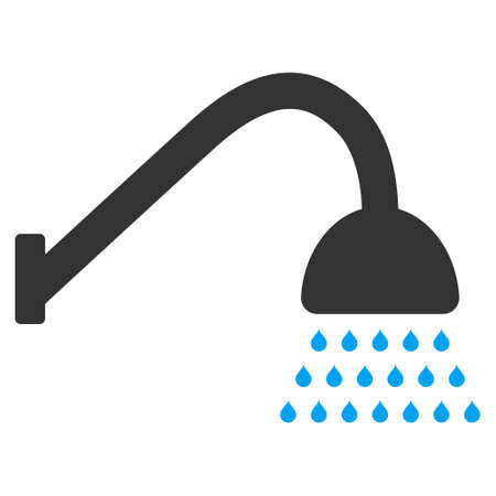 Shower icon. Vector style is bicolor flat iconic symbol with rounded angles, blue and gray colors, white background. Illustration