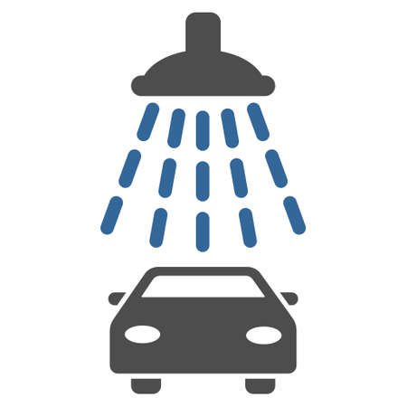 cobalt: Car Shower icon. Glyph style is bicolor flat iconic symbol with rounded angles, cobalt and gray colors, white background. Stock Photo