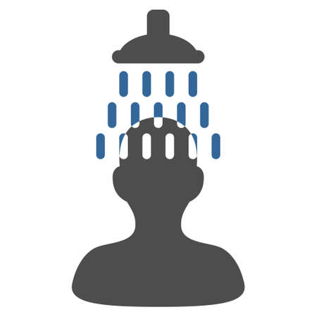 Man under Shower icon. Glyph style is bicolor flat iconic symbol with rounded angles, cobalt and gray colors, white background. Stock Photo
