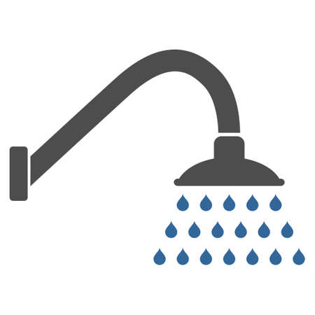 cobalt: Shower icon. Glyph style is bicolor flat iconic symbol with rounded angles, cobalt and gray colors, white background.