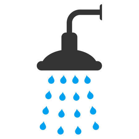 sterilize: Shower icon. Vector style is bicolor flat iconic symbol, blue and gray colors, white background.