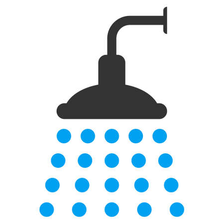 desinfectante: Shower icon. Vector style is bicolor flat iconic symbol, blue and gray colors, white background.