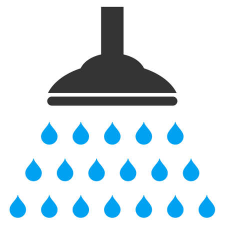 Shower icon. Vector style is bicolor flat iconic symbol, blue and gray colors, white background.