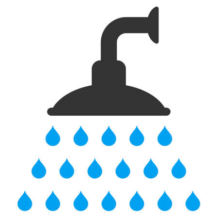 antiseptic: Shower icon. Vector style is bicolor flat iconic symbol, blue and gray colors, white background.