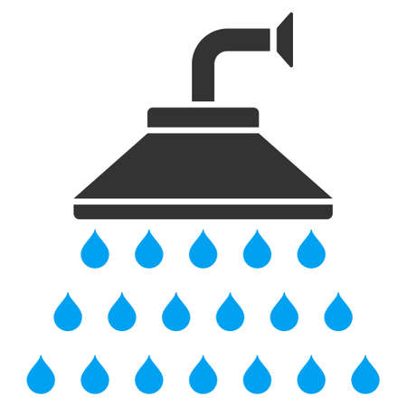 disinfectant: Shower icon. Vector style is bicolor flat iconic symbol, blue and gray colors, white background.