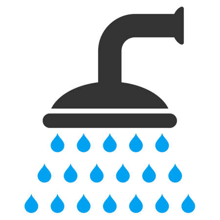 sanitize: Shower icon. Vector style is bicolor flat iconic symbol, blue and gray colors, white background.
