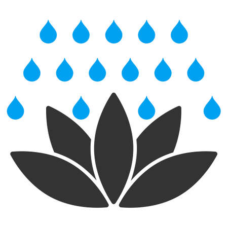 sterilize: Spa Shower icon. Vector style is bicolor flat iconic symbol, blue and gray colors, white background.