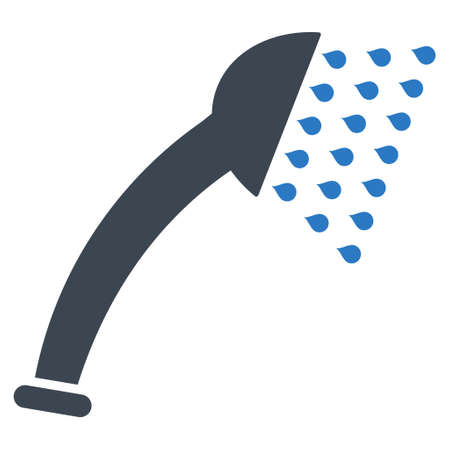 Shower icon. Glyph style is bicolor flat iconic symbol, smooth blue colors, white background.