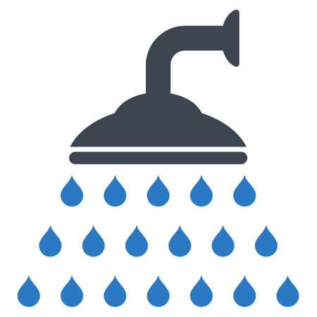 source d eau: Shower icon. Glyph style is bicolor flat iconic symbol, smooth blue colors, white background.