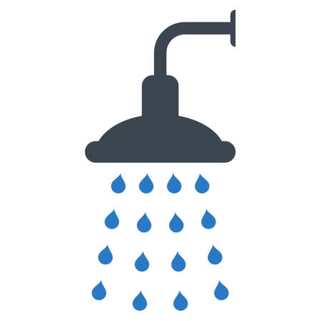 sanitize: Shower icon. Glyph style is bicolor flat iconic symbol, smooth blue colors, white background.
