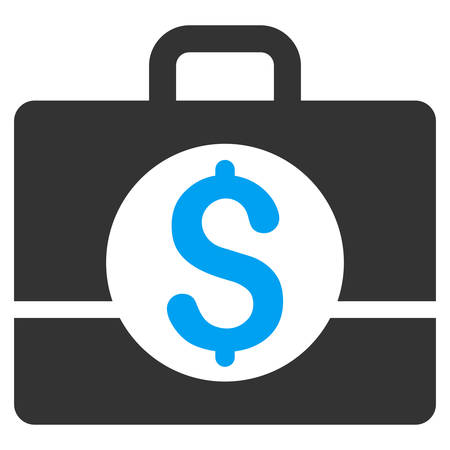 business case: Business Case icon. Vector style is bicolor flat iconic symbol with rounded angles, blue and gray colors, white background.
