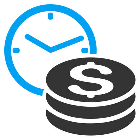 timed: Credit icon. Vector style is bicolor flat iconic symbol with rounded angles, blue and gray colors, white background.