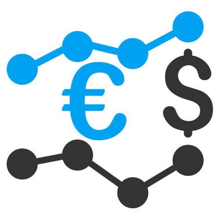 通貨チャート アイコン。ベクトルは、丸みを帯びた角を持つバイカラー フラット象徴的なシンボル、青と灰色の色、白の背景です。