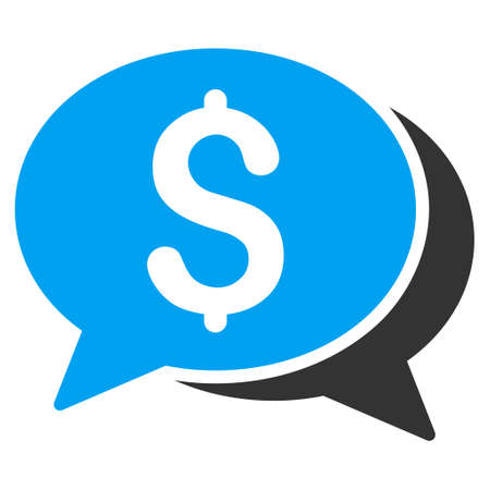 sms payment: Money Chat icon. Vector style is bicolor flat iconic symbol with rounded angles, blue and gray colors, white background. Illustration
