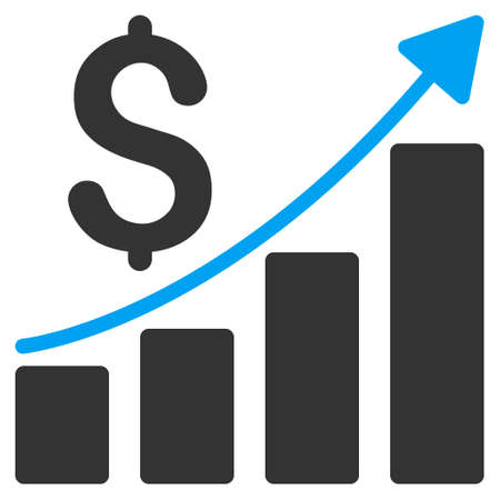 sales growth: Sales Growth Chart icon. Vector style is bicolor flat iconic symbol with rounded angles, blue and gray colors, white background.