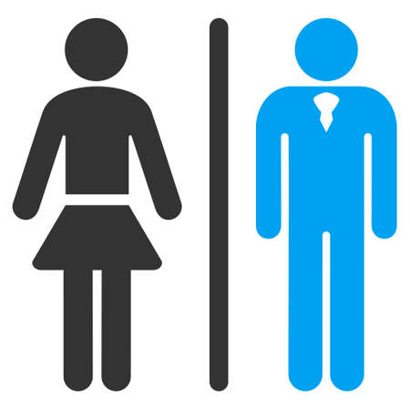 toilette: Toilet Persons icon. Vector style is bicolor flat iconic symbol, blue and gray colors, white background. Illustration