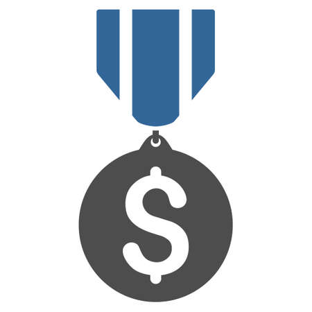 approval rate: Dollar Medal icon. Glyph style is bicolor flat iconic symbol with rounded angles, cobalt and gray colors, white background.