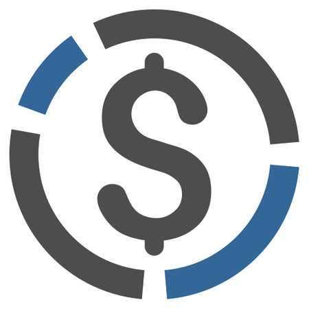 cobalt: Financial Diagram icon. Glyph style is bicolor flat iconic symbol with rounded angles, cobalt and gray colors, white background.