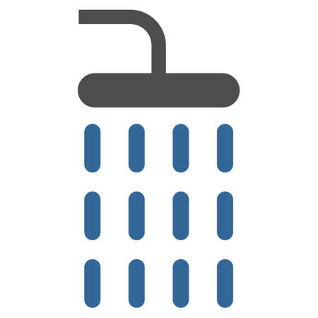 cobalt: Shower icon. Glyph style is bicolor flat iconic symbol, cobalt and gray colors, white background.
