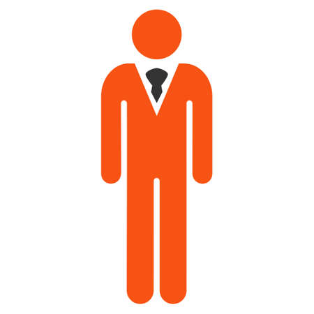 Gentleman icon. Vector style is bicolor flat iconic symbol with rounded angles, orange and gray colors, white background.